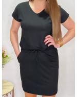 Šaty športového strihu s viazaním v páse 102/3D čierne