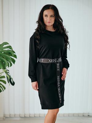 Teplákové  mikinové šaty čierne 112/1A