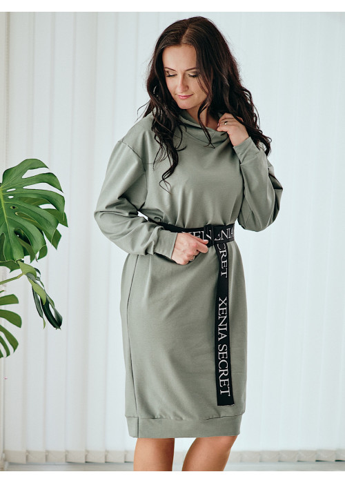 Teplákové  mikinové šaty pastelovo-zelené 112/1C