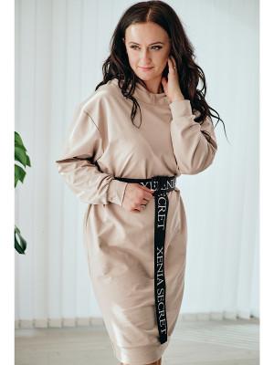 Teplákové  mikinové šaty svetlo-bežové 112/1D