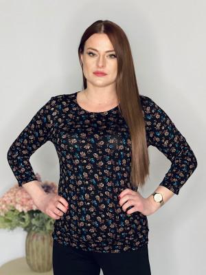 Tričko čierne vzor kvet 95/8A