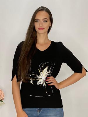 Tričko  čierne s aplikáciou  95/9NB1
