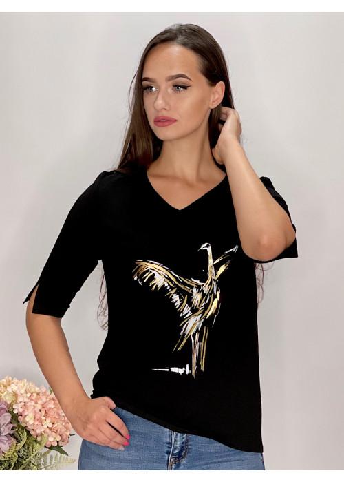 Tričko  čierne s aplikáciou  95/9NB