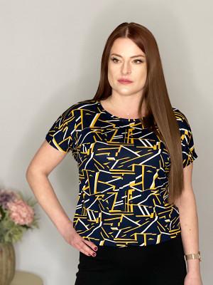 Tričko modré s žlto-bielou potlačou 102/5C